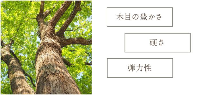 木目の豊かさ・硬さ・弾力性